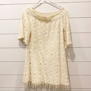 Soieblu Lace Overlay Off White Large Dress